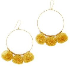 Chan Luu Pom Pom Hoop Earrings (€30) ❤ liked on Polyvore featuring jewelry, earrings, honey gold, chan luu jewelry, pom pom jewelry, chan luu earrings, gold jewelry and poms jewellery