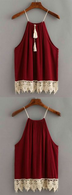 Shop Lace Trimmed Tasselled Drawstring Neck Top - Burgundy at ROMWE, discover more fashion styles online. Diy Fashion, Love Fashion, Fashion Outfits, Womens Fashion, Winter Fashion, Summer Outfits, Casual Outfits, Diy Vetement, Mode Top