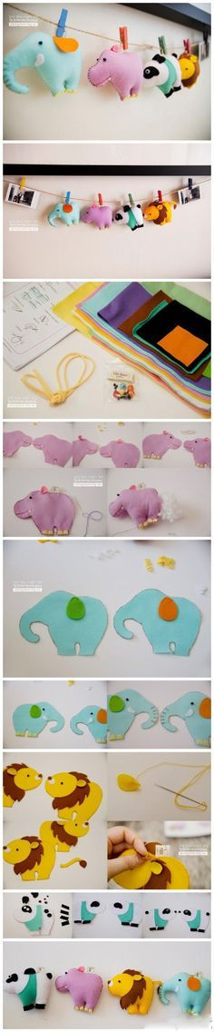DIY Kids Stuffed Animals, as Singles or as Garland. A Bit Sewing a bit Stuffing ...So Cute! :-D