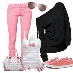 Pink jeans and shoes, white tank top, black off the shoulder sweatshirt, white and pink purse Pretty Outfits, Winter Outfits, Casual Outfits, Cute Outfits, Ladies Outfits, Casual Wear, Casual Attire, Jean Outfits, Casual Chic
