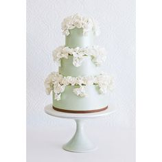 Mint Green Wedding Cake with Ruffles Wedding Cakes ❤ liked on Polyvore