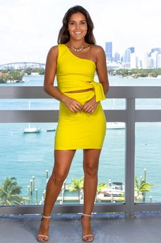 Heat up the night in this mustard yellow one shoulder dress from Saved By The Dress. This unique tie-waist cut out dress is sure to grab attention! Ladies Night Outfit, Girls Night Out Dresses, Little Dresses, Night Outfits, Sexy Outfits, Cute Dresses, Short Dresses, Luxury Dress, Fashion Night