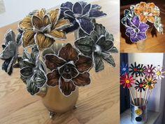 Flores hechas con cápsulas de café nespresso para decorar el salón