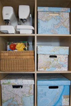 Bankers Boxes covered in old maps