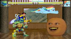 The Annoying Orange And Rainbow Dash VS Forge And Leonardo In A MUGEN Match / Battle / Fight This video showcases Gameplay of Rainbow Dash From The My Little Pony Friendship Is Magic Series And The Annoying Orange VS Leonardo From The Teenage Mutant Ninja Turtles Series And Forge In A MUGEN Match / Battle / Fight