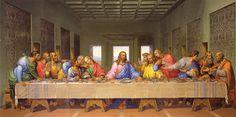 La Cène- Léonard de Vinci L'oeuvre ce base sur une scène religieuse , le dernier repas de Jesus . La représentation de scènes religieuse est très utilisé à la renaissance