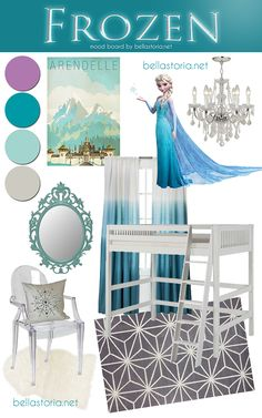 Disney's Frozen inspired girl's room mood board. I'm not a little girl but I would def use this as inspiration for my own room.