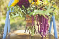 dripping amaranthus and western-inspired bouquet wrap with burlap // photo by SarahKathleen.com