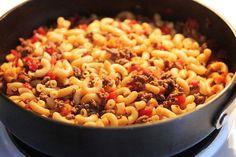 Tomato, Hamburger, Macaroni Goulash from Food.com:   Yummy Yummy Yummy......  Cheap Cheap Cheap....   Easy Easy Easy....