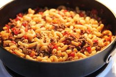 Tomato, Hamburger, Macaroni Goulash from Food.com:   								Yummy Yummy Yummy......  Cheap Cheap Cheap....   Easy Easy Easy....