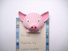 Pig magnet. Seashell pig magnet. Beach, nautical, Cape Cod pig art.