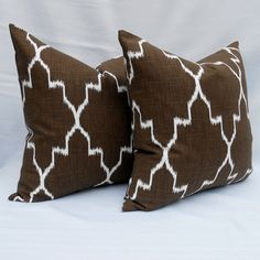 Chocolate Brown Pillow Cover 20x20 Monaco Ikat by LowCountryHome, $38.00