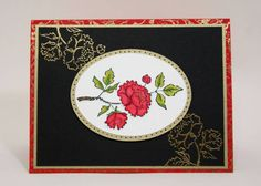 hand crafted card by sleepyinseattle  ... peony blossoms colored and in gold out line on background ...  Asian Artistry ... Stampin' Up!