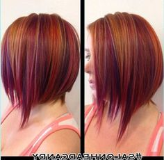 short natural red hair with purple highlights