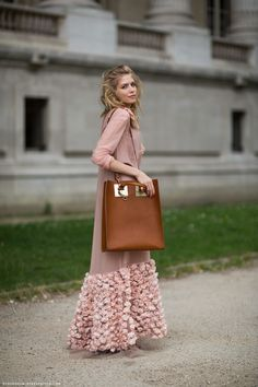 Elena Perminova wearing Ulyana Sergeenko~ Beautiful dress and handbag, very classy and elegant!