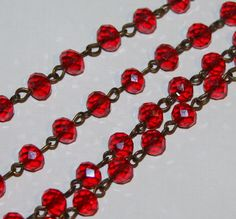 Hey, I found this really awesome Etsy listing at https://www.etsy.com/listing/211342453/3ft-of-antique-brass-chain-with-red
