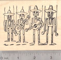 Day of the Dead Mexican Mariachi Band Rubber Stamp, Marionettes Día de los Muertos, Halloween (N18703) $15 at RubberHedgehog.com