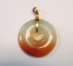 Vintage Estate 14KT Gold Mount Translucent 3 Color Jade Pendant by Alohamemorabilia