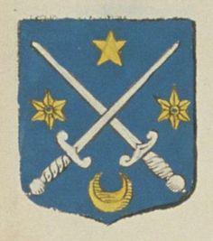 Antoine DE MASTRIBAT, Sieur de la Bertussière, conseiller du Roy, juge magistrat au présidial de Poitiers. Porte : d'azur, à deux épées d'argent, passées en sautoir, accompagnées d'une étoile d'or en chef, d'un croissant de même en pointe et de deux molettes de même, posées aux flanc   N° 193