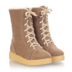 $19.08 Casual Laconic Women's Snow Boots With Solid Color Lace-Up and Platform Heel Design