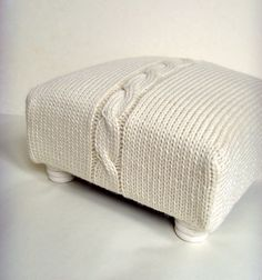 Foot Stool SALE Chunky Cable Knit Covered Cream by ArticleApparel, $49.00