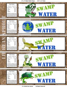 Printable Reptile Birthday Party Water Labels by lilbeansprout, $5.00