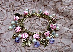 Rose Garden Charm Bracelet Gold Wire Wrapped Pearls and Swarovski Crystals