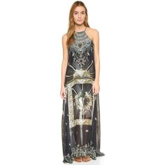 A breezy Camilla cover-up with the brand's signature mix of exotic prints and bright crystals at the neckline. Deep side slits. Sleeveless. Lined. Fabric: Plai…