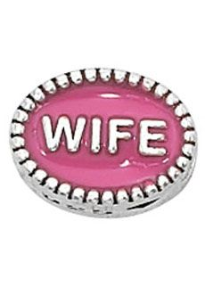 "Nomades - Beaded Spacer, Wife - Both sides of this .925 sterling silver spacer have a beaded rim and the word ""WIFE"" embedded in fuchsia enamel.      Spacer Size LARGE    Spacers are comparatively sized based upon the width of the spacer across the widest part; Small  5mm or less, Medium 5mm -10mm, Large 10mm +"