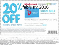 Walgreens coupons & Walgreens promo code inside The Coupons App. off at Walgreens with free rewards card, or online via promo code April