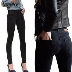 7b579574f10 2017 Autumn Spring Middle Waist Women hip-lifting Jeans Stretch Skinny  Pencil Pants Black Casual Denim Boyfriend Plus size pants