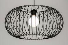 Hanglamp 10136: Modern, Zwart, Metaal, Rond