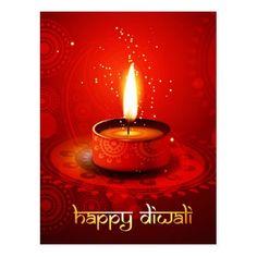 Beautiful Red Background Happy Diwali Postcard