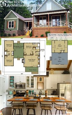 Architectural Designs Dog Trot House Plan 92377MX gives you 3 beds plus a sleeping loft overlooking the vaulted great room. Just over 1,500 square feet of living plus the front porch and the connecting one. Ready when you are. Where do YOU want to build?