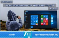 Capture Screenshots using 6 quick methods in Windows Best easy ways to take screenshot in Windows, New shortcut to take Windows 10 screenshot Computer Problems, Android Hacks, Windows 10, Tech, Tecnologia, Technology