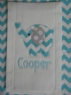 Custom boutique Chevron ELEPHANT baby boy Burp Cloth Personalized applique MONOGRAMMED. $7.99, via Etsy.