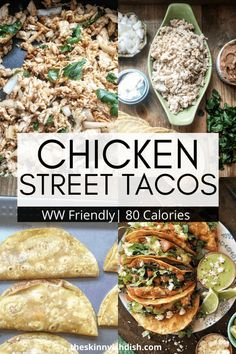 No need to have a food truck around to get the yumminess of Chicken Street Tacos for your dinner. These easy shredded chicken tacos are a great meal when youre craving Mexican! Simple and healthy served up on corn tortillas these are a real winner! Ww Recipes, Curry Recipes, Mexican Food Recipes, Fast Recipes, Easy Delicious Recipes, Healthy Eating Recipes, Yummy Food, Easy Shredded Chicken, Easy One Pot Meals