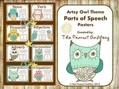 "Your students will want to read ""OWL"" about parts of speech with these artsy owl theme posters on display. These whimsical posters feature a ""shabby chic"" look. ($)"