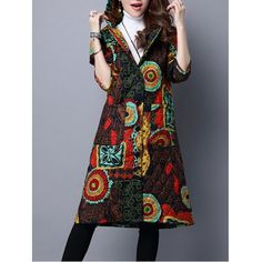 Hooded Printed Quilted Coat  -  M  COLORMIX