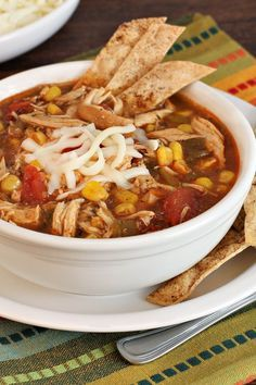 Weight Watchers Easy Chicken Tortilla Soup Recipe with Onion, Bell Pepper, Garlic, Chicken Broth, Tomatoes, Corn, Chili Seasoning Mix, Cilantro, and Tortilla Chips - 7 WW Points: