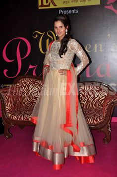 Indian Tennis Ace Sania Mirza in a beautiful white net #Anarkali with a broad orange border by JADE #COUTURE http://www.jadecouture.com/ to receive Women's Prerna (Inspiration) Award April, 13