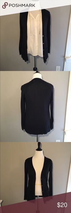 Long Navy Michael Kors Cardigan Long Navy Michael Kors Cardigan. Gold buttons. Size large. Gently worn. Looks great paired with MK cream colored chain neck blouse. Hits about mid hip, maybe a little longer. Michael Kors Sweaters Cardigans