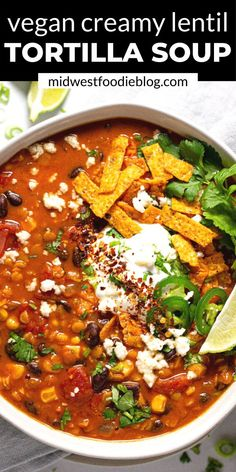 new house options This creamy, flavor-forward, Vegan Lentil Tortilla Soup is the perfect quick and easy weeknight dinner! It takes just 20 minutes to throw together and uses just a ha Healthy Soup Recipes, Vegetarian Recipes, Mexican Soup Vegetarian, Mexican Lentil Soup Recipe, Healthy Food, Vegan Food, Vegan Soups, Soups And Stews, Dinner Recipes