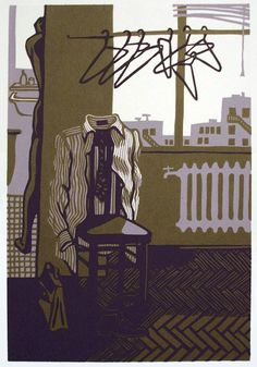 ROOM with NO VIEW reduction color linocut by WingedLion on Etsy, $170.00