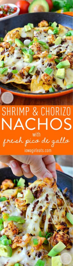 Shrimp and Chorizo Nachos with Fresh Pico de Gallo - The ultimate game day dish - make and enjoy using just one skillet! Latin Food Recipe Share and enjoy! Seafood Recipes, Mexican Food Recipes, Appetizer Recipes, Dinner Recipes, Appetizers, Cooking Recipes, Ethnic Recipes, Nacho Recipes, Cheesy Recipes