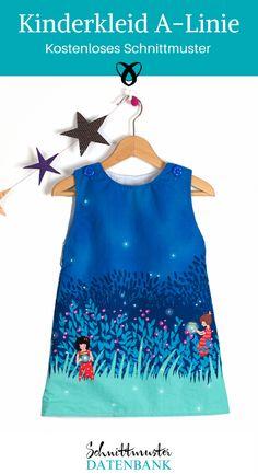 Das einfache Kinderkleid von Fabrik der Träume in A-Linie ist simpel und genial. Je nach Wetter kannst Du Deinem Kind mehr oder weniger anziehen und nach dem nächsten Wachstumsschub musst Du das Kleid nicht ausmustern, sondern Dein Kind kann es ganz einfach als Tunika über eine Jeans tragen. Da es das kostenlose Schnittmuster in den Größen 56-128 gibt, begleitet der Dich ganz lange.