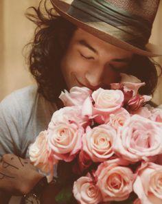 #ezra miller #pink flowers