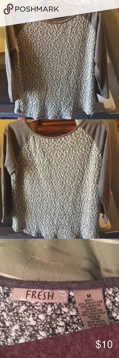 Dressy baseball style top Beautiful gray and cream baseball sleeve top. Comfort and nice enough for work! 3/4 length sleeves Fresh Tops Tees - Long Sleeve