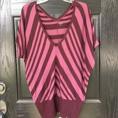 Three dots Anthropologie dolman tee In very good used condition with no rips or stains. The brand is Three Dots for Anthropologie. Adorable burgundy striped dolman sleeve top with banded waist. Long enough to wear as tunic with leggings or pulled up some, with shorts. Length is 28 inches. Runs oversized. Thanks for looking. Anthropologie Tops Tees - Short Sleeve
