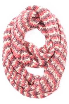 Multi Knit Infinity Scarf. Available in pink, red, and white! #May23Online